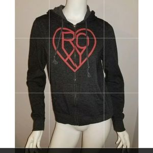 Womens Roxy Zipper Front Black Hoodie Size Small S